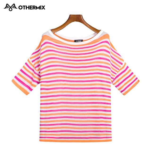 OTHERMIX 2016 весной новые свободные большой шею короткий параграф дикий полосатый свитер женщина
