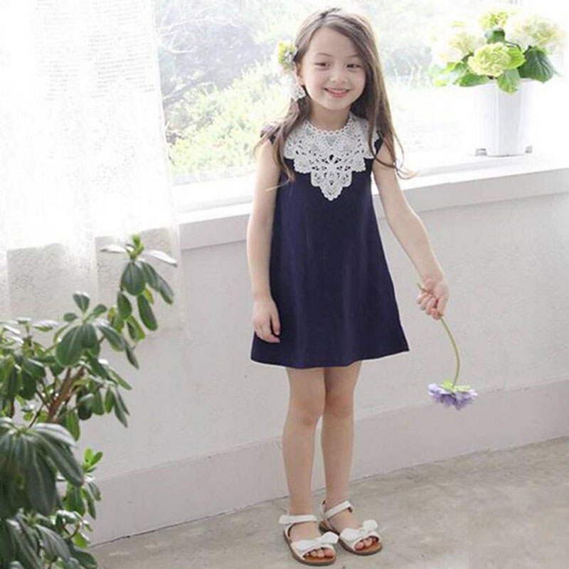 2016 Fashion Cotton Lace Children Girls Dresses New Toddler Vintage Kids Baby Party Clothes For Girl 4-9 Years Free Shipping(China (Mainland))
