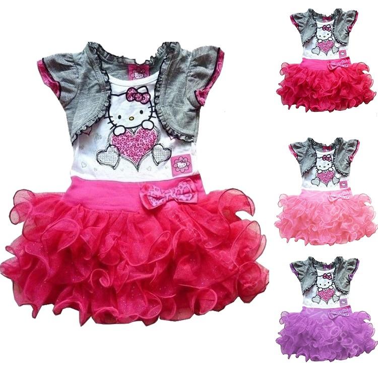 2015 Summer Style Baby Girls Dress Cartoon Hello Kitty Princess Dresses Children Tutu Vestidos Infantis C20  -  SNOW LOVE store