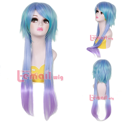 Free Shipping 70cm Synthetic Harajuku Hair Long Straight Blue Purple Gradient Cosplay Wig<br><br>Aliexpress