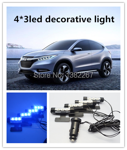 new arrival 4x 3led blue car interior lamp atmosphere light foot light car decorative light. Black Bedroom Furniture Sets. Home Design Ideas