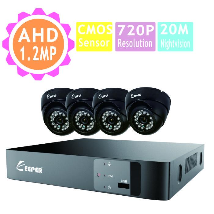 KEEPER 4CH AHD DVR Kit  with 4pcs  High Quality AHD Camera CMOS 1.2MP  AHD Camera 24 IR LEDs 20M Night Vision Indoor Camera <br><br>Aliexpress