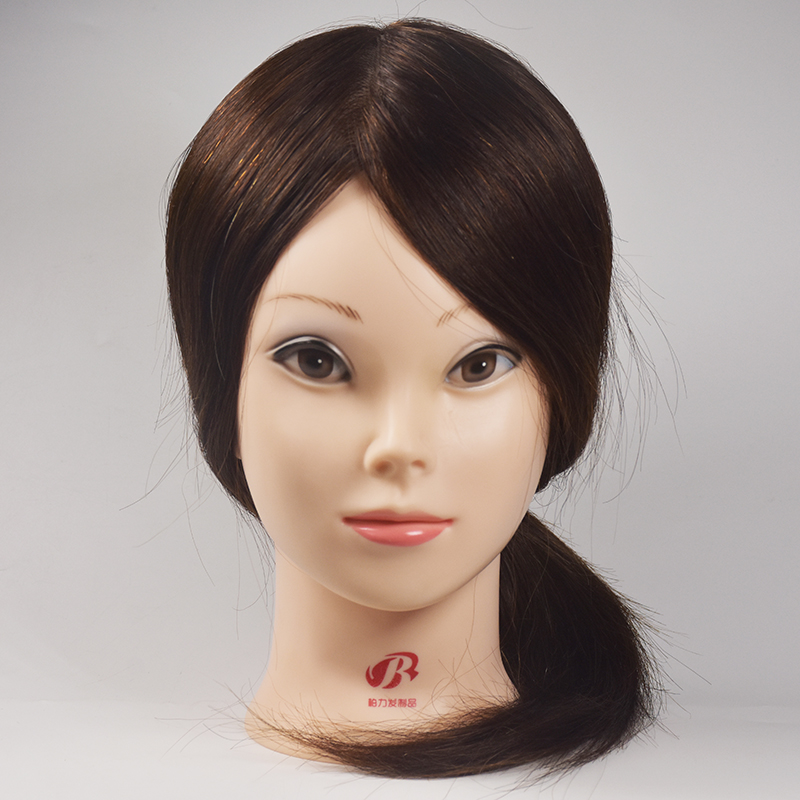 Hairdressing Training Heads 100% Human Hair 16″ Brown Mannequin Head With Natural Hair High Quality Hair Practice Head For Sale