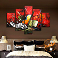 Hand Painted Flap Piano Music Instruments Oil Painting on Canvas 5pcs set Unframed Art Wall Decor