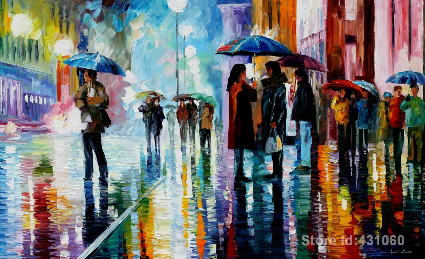 Modern art Landscape,bus stop under the rain,beautiful oil Painting,Gallery online,High quality, handmade(China (Mainland))