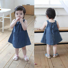 Super Baby Kids Girls Toddlers Jean Denim Dress Bow Straps Summer Sundress Size 0-3Y 1PC