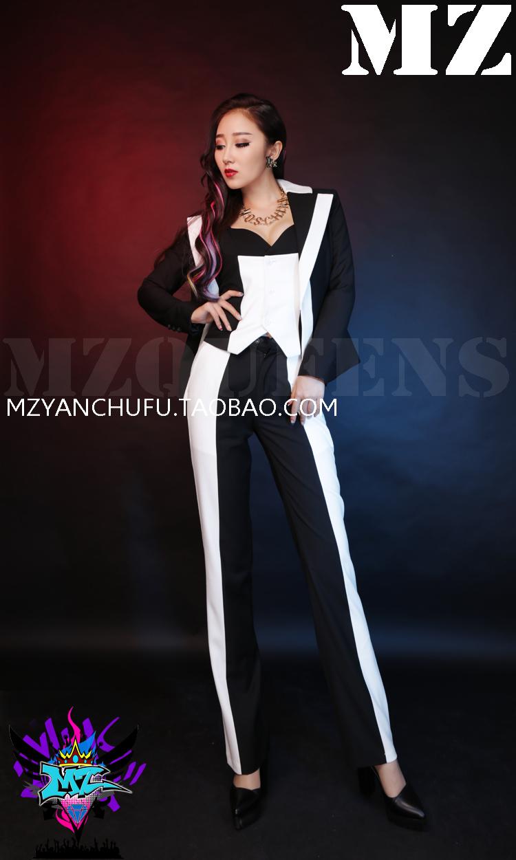 (Suit+vest+Pant ) 2017 Women Singer DJ DS black and white Patchwork Suit Suits Stage Show Costumes S-3XL free shipping