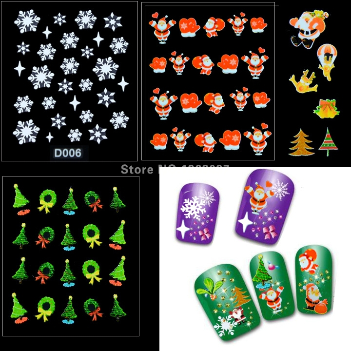 15sets/lot (12 sheets/set) 3D Nail Sticker Decoration Christmas Snowflakes Santa Trees Design Art Decals - A-Better Day store