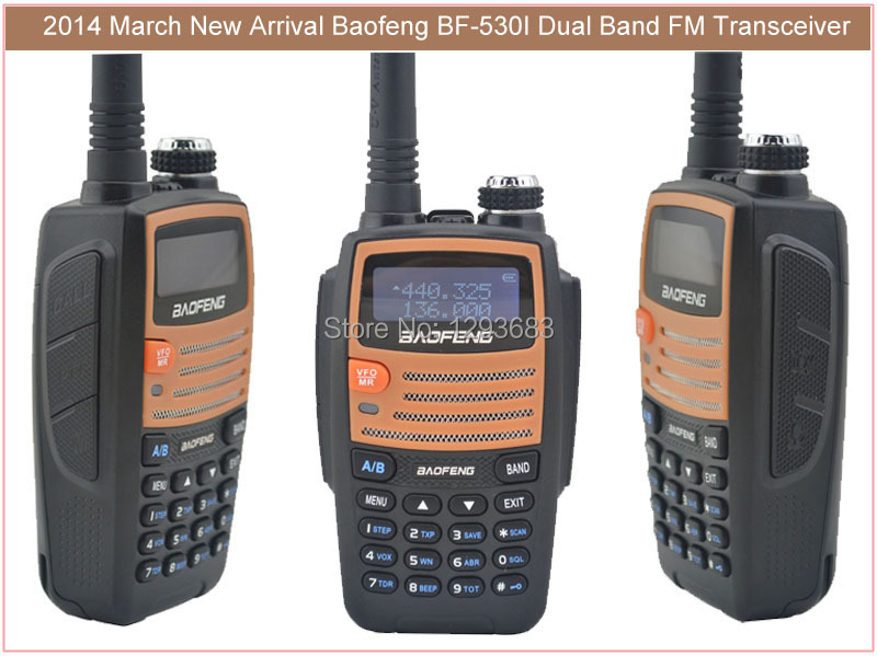 Baofeng BF-530I Portable Two-way Radio VHF+UHF Dual Band 5W 128CH FM radio walkie talkie with Free Earphone 1800mAh Battery(China (Mainland))