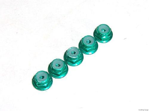 Green Aluminum 2mm Flanged Lock Nut RC Model accessories Free Shipping(China (Mainland))
