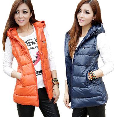 Fashion autumn winter women vest thickening cotton medium-long warm hooded coats ladies plus size jackets L-4XL - World's store