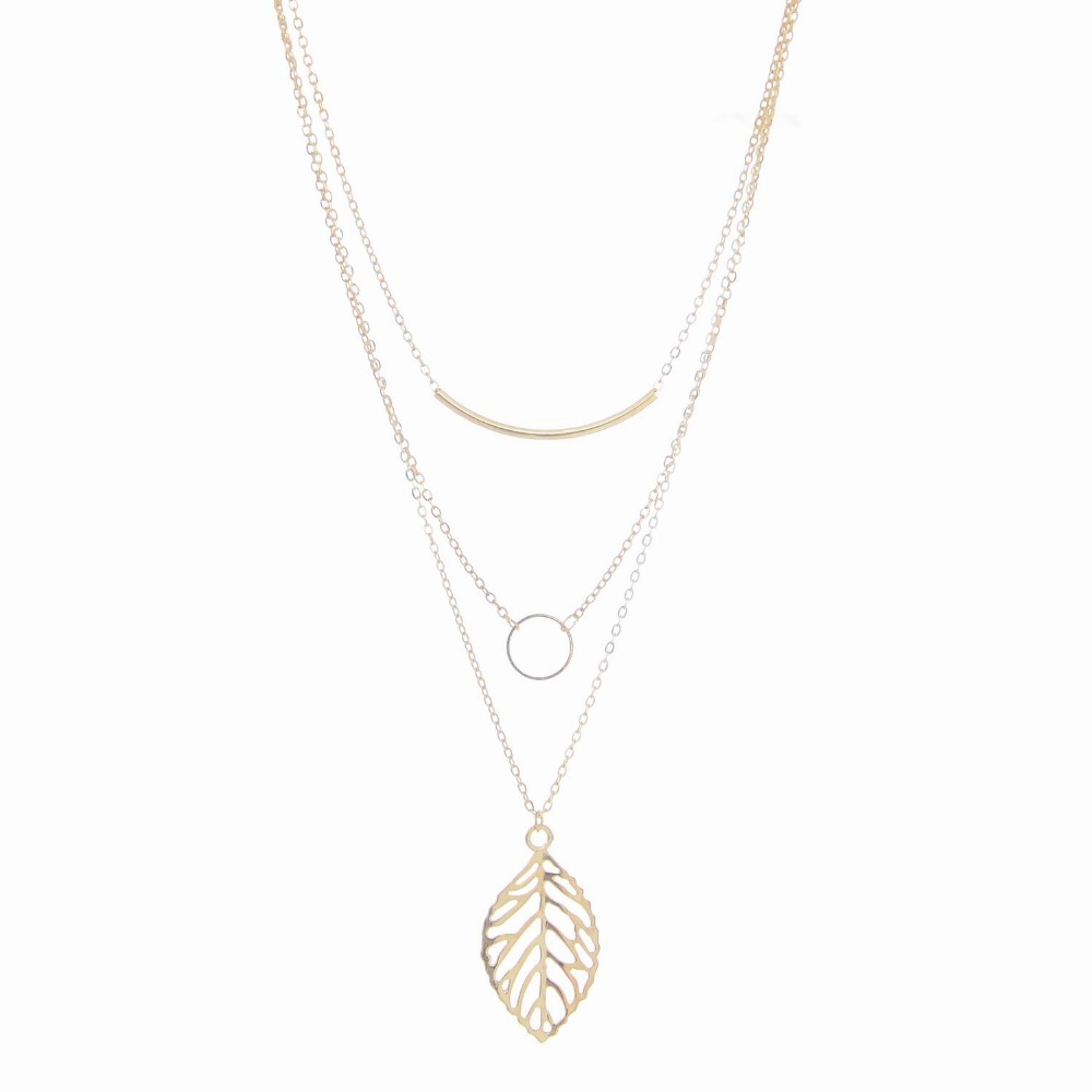 Promotion Fashion Gold Plated Chain 3 Layer Multilayer Circle Bar Hollow Out Leaf Statement Necklace & Pendant for girl FCXN085(China (Mainland))