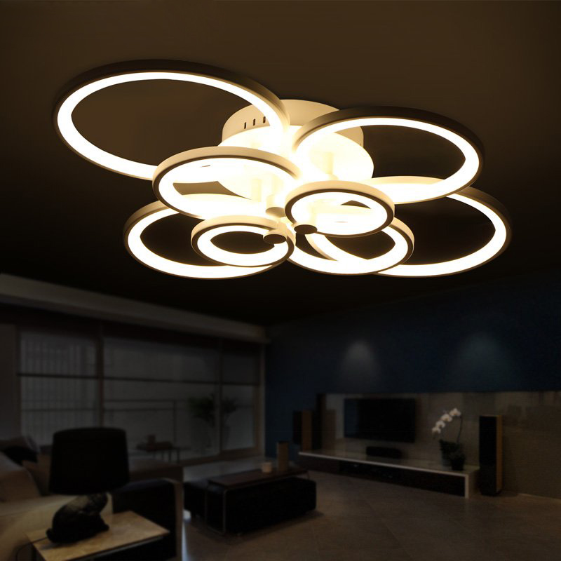 Remote control living room bedroom modern led ceiling for Living room ceiling lights
