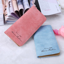 New Fashion Nubuck Leather Women Purse Super Thin Long Wallet Bags Purse Card Holder Bag 8