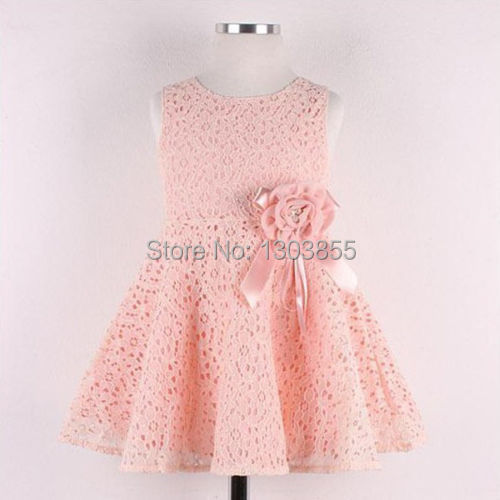 2014 Details about Elegent Kids Toddlers Girls Princess Party Flower Solid Lace Formal Dress Sz2-7Y(China (Mainland))