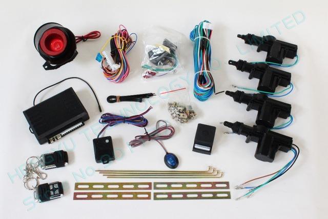 universal12V remote central door lock/1 master 3 slave car central lock system with 2 remote control one way car alarm system