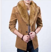 2015 Brand Men Wool & Blends Coat With Luxury Rabbit Fur Collar For Men Outdoor Outerwear Winter Medium-long Trench Coat(China (Mainland))