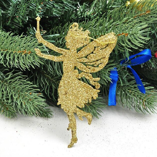Christmas decorating supplies 14 x9cm golden pink angel shape ornaments 10 g supplies natal snowflake crafts hanging ss1508(China (Mainland))