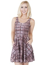 1165 fashion Women's 3D printing plaid chocolate prints elastic summer sexy Girl skater one-piece pleated dress