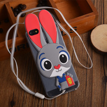 Lovely Judy Hopps Soft Silicone Case for iPhone SE iPhone 5 5S 4.0″ Cute Cartoon Phone Cover Transparent TPU Shell with Strap