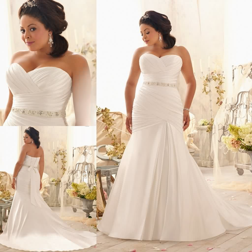 Plus size wedding dress mermaid style sweetheart satin for Satin mermaid style wedding dresses