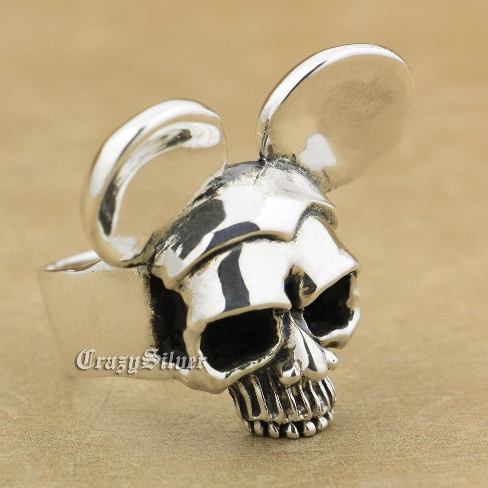 925 Sterling Silver Huge Heavy Mickey Skull Biker Rocker Punk Ring 9Q028 US Size 12<br><br>Aliexpress