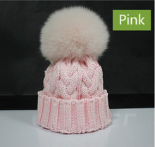 Genuine Real Fox Fur Pom Poms Winter Hats Cable Knitted Wool Kids Fur Pompom Hats Warm Children Pompon Beanies Boy Girl Ski Hats(China (Mainland))