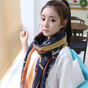 Новое поступление мода женщины полосой плед шарф женские модели бархат шарф супер-длинный шарф женщины Scraf