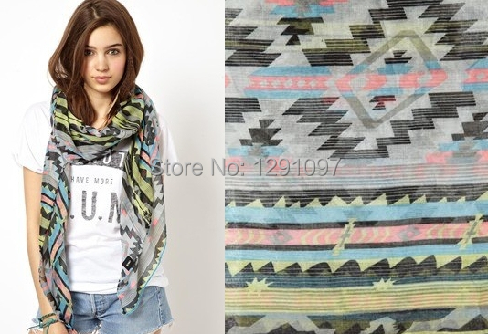 2014 New Styles fashion 100% Polyester 100cm*180cm women Aztec scarf  -  7 kingdom store