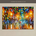 Home Decor Picture Hang Craft Top Artist Hand Painted Colorful Landscape Streetscape in Rain Knife Palette