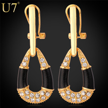 U7 18K Real Gold Plated Rhinestone Crystal Earrings New Design Fashion Earrings Jewelry For Women Wholesale Free Shipping E24593(China (Mainland))