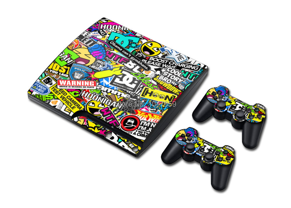 FOR SONY PLAYSTATION 3 SLIM CONSOLE STICKERBOMB VERSION II SKIN GRAPHICS & 2 PAD SKINS(China (Mainland))