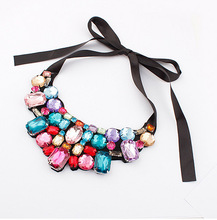 Europe and America exaggerated shine petals fake collar necklace Hot European and American fashion necklace 216(China (Mainland))