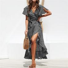 קיץ חוף מקסי שמלת נשים פרחוני הדפסת Boho ארוך שיפון שמלת קפלי גלישה מקרית V-צוואר פיצול סקסי המפלגה שמלת Robe femme(China)