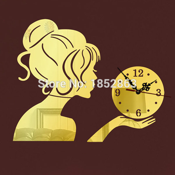 2015 Fashion Silver/Red Beauty Girl 3d Wall Clock Unique Design Acrylic Mirror Home Decor Wall Clock(China (Mainland))