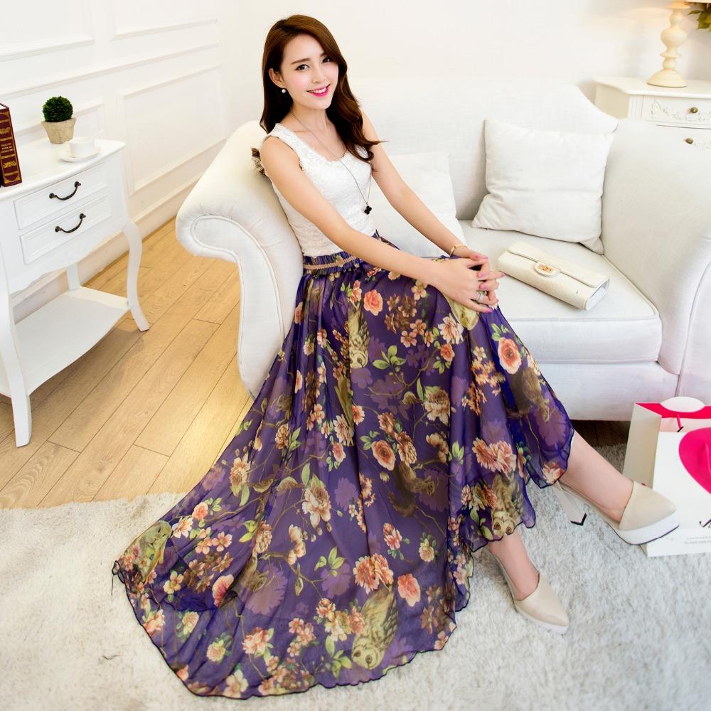 fashion style skirt 2015 new women sexy chiffon long skirt high quality many colours nice design floral print skirts(China (Mainland))