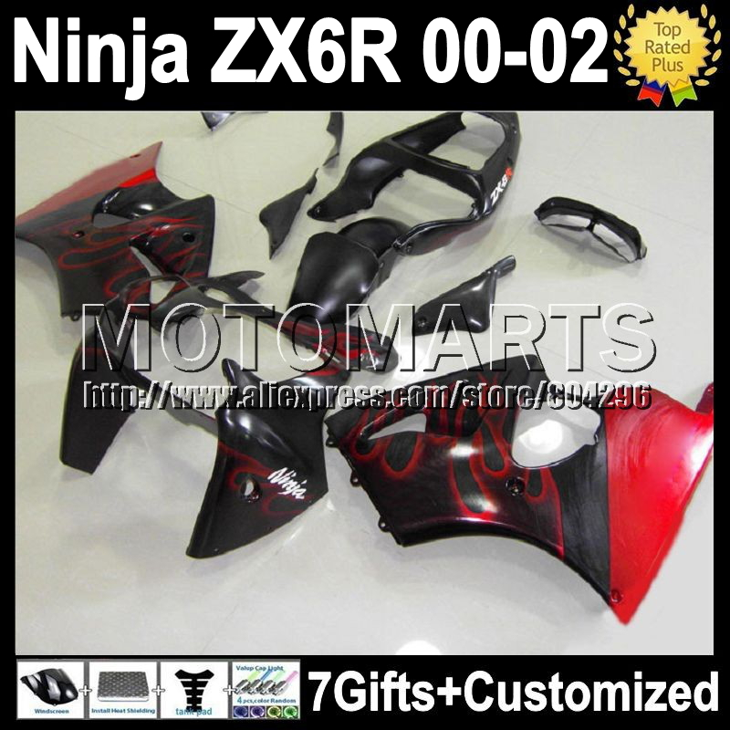 7gifts hot red black KAWASAKI NINJA ZX6R 2000 2001 2002 K7153 ZX636 ZX-636 ZX-6R flames ZX 6R 636 00 01 02 Fairing - Motomarts store