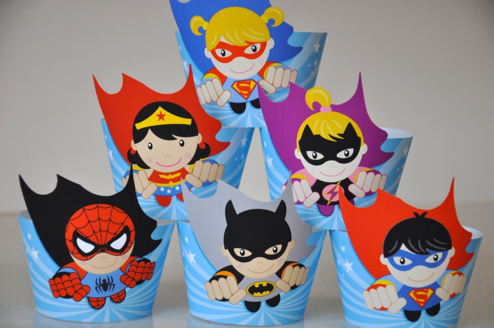 Superhero Avengers Capcake Toppers Wrappers Super Hero Birthday Party Decorations Party Supplies Birthday Party Decorations Kids(China (Mainland))