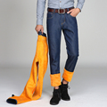 Men s winter warm velvet jeans bussiness style males thick fleece denim pants straight blue trousers