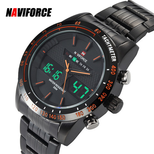Digital Analog led Sport Watch Full steel Japan dual time men quartz wristwatch Round Dial Strap Relogio masculino male clock - Flashing Moment Store store