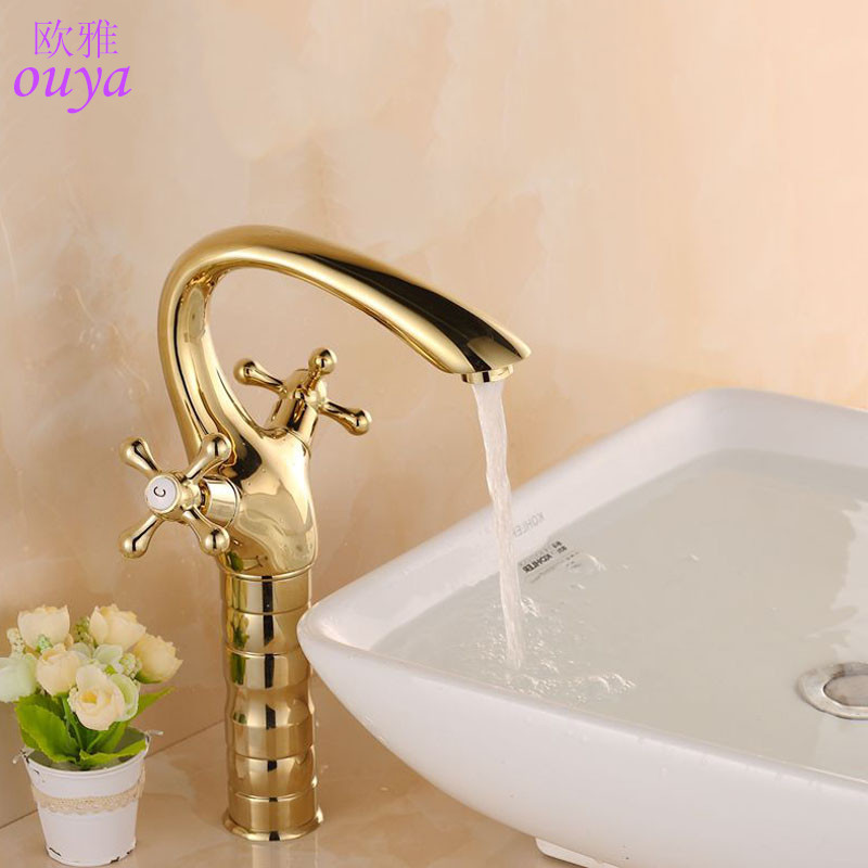 Modern Gold Bathroom Basin Faucet Brass Double-Rotation Handle Bathroom Faucets Single Hole Heightening Deck Mounted Mixer Tap(China (Mainland))
