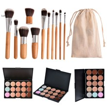 15 Colors Contour Cream Makeup Concealer Palette 11 pcs Brush White Silver Set Makeup Brush contour Pallete(China (Mainland))