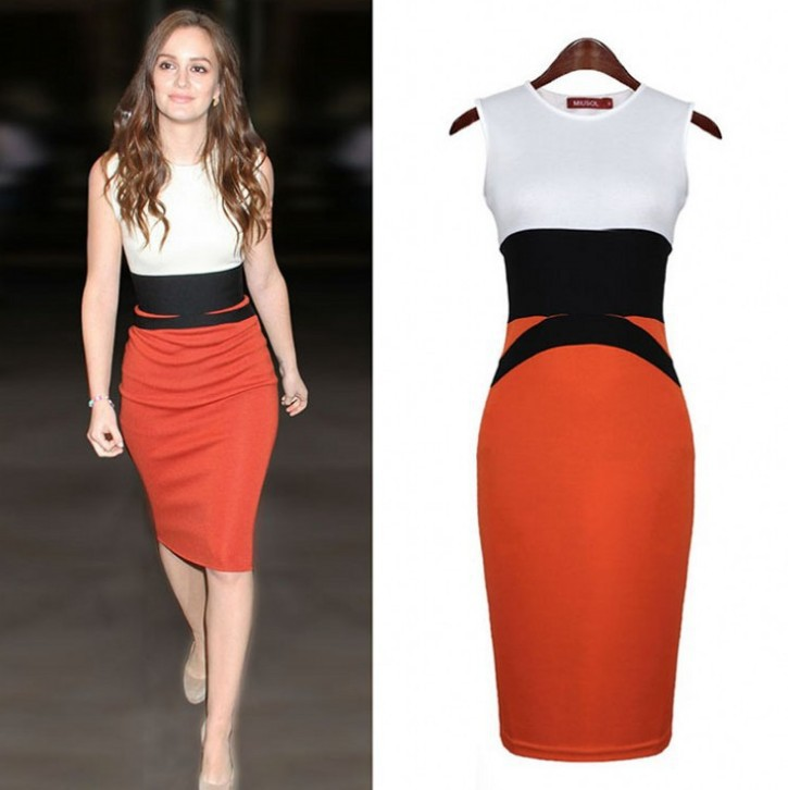 Next Batch All Size in Stock on February 15th Womens Celebrity Midi Bodycon Ladies Red Pencil Evening Slimming Panel Tea Dress(China (Mainland))