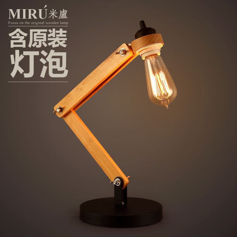 Loft Style Modern Home Decoration Wooden Table Lamp Personality Wood Study Table Lamp Bed Light Free Shipping<br><br>Aliexpress
