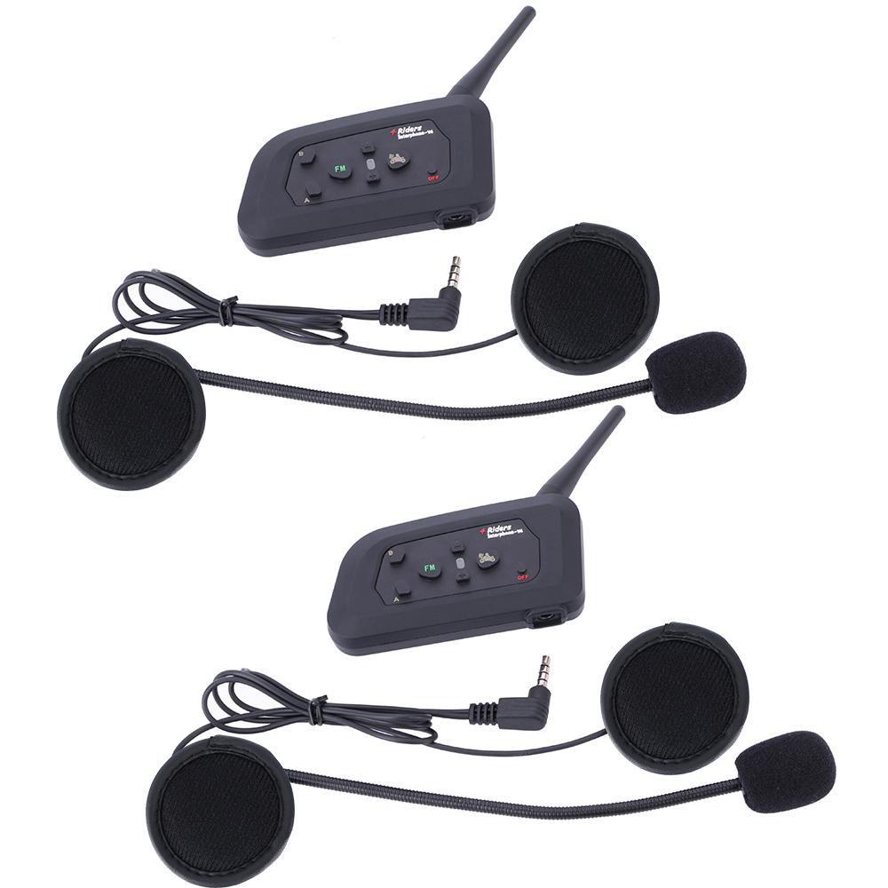 Hot sale 2 pcs 4 riders moto communicator V4 FM motorcycle headset bluetooth helmet intercom bt motorbike interphone headsets(China (Mainland))