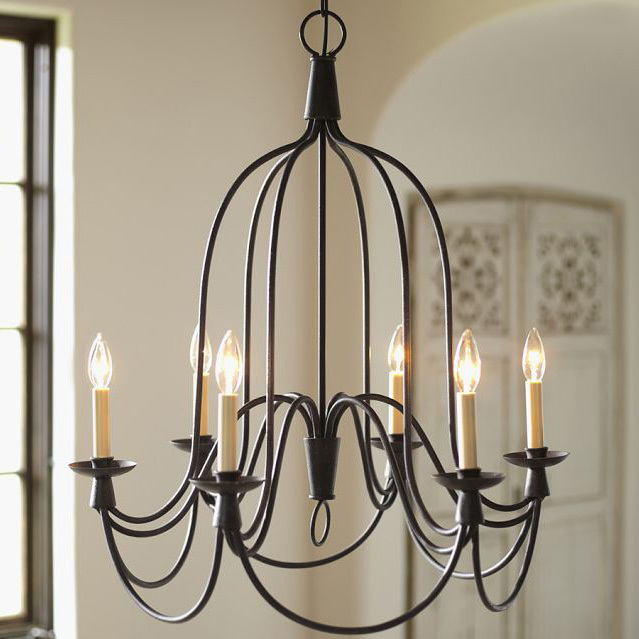 American Vintage Wrought Iron Pendant Light Living Room