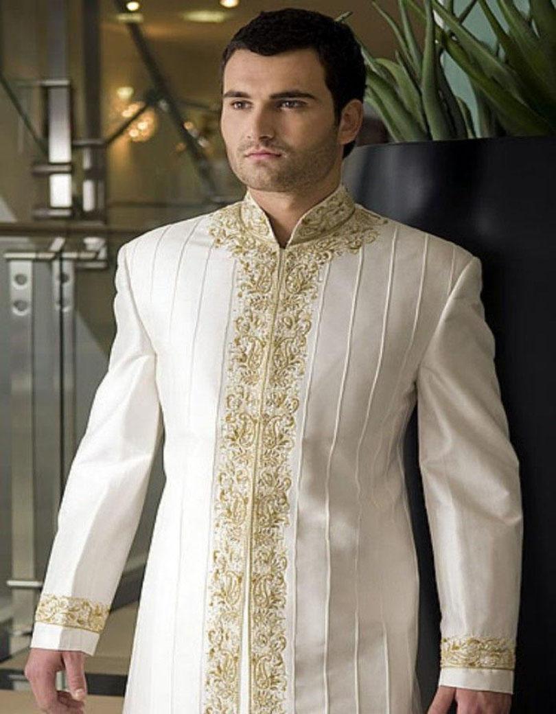 2017 New Design Handsome Wedding Groom Indowestern Sherwani Suit Customized Tuxedos For Men Prom Best Men Suits (jacket+pants)