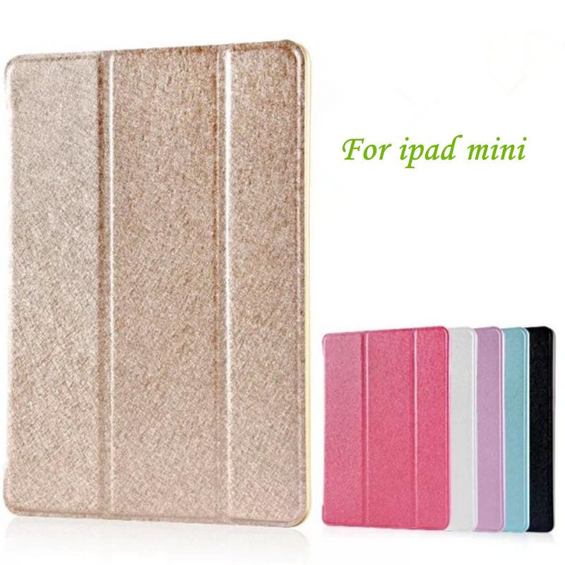 Luxury Fashion Silk Leather Case For ipad mini 1/2/3 Slim Smart Back Cover for apple ipad Mini2 Mini3 Stand Features fundas(China (Mainland))