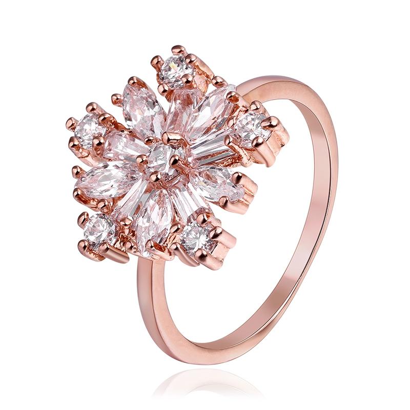 Unique 18K Rose Gold Plated Snowflake Fashion Round Zircon Crystal Rings Wedding Party Birthday Element Women Elegant Gift(China (Mainland))