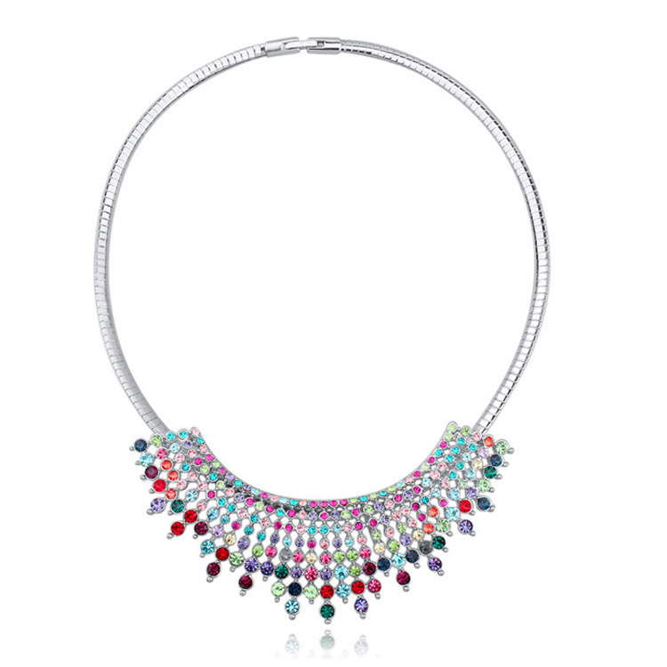 Tassel Necklace Big Pendant Made With Real Swarovski Elements Austrian Crystal Chokers Necklaces Women Bohemian Jewelry 3 Colors